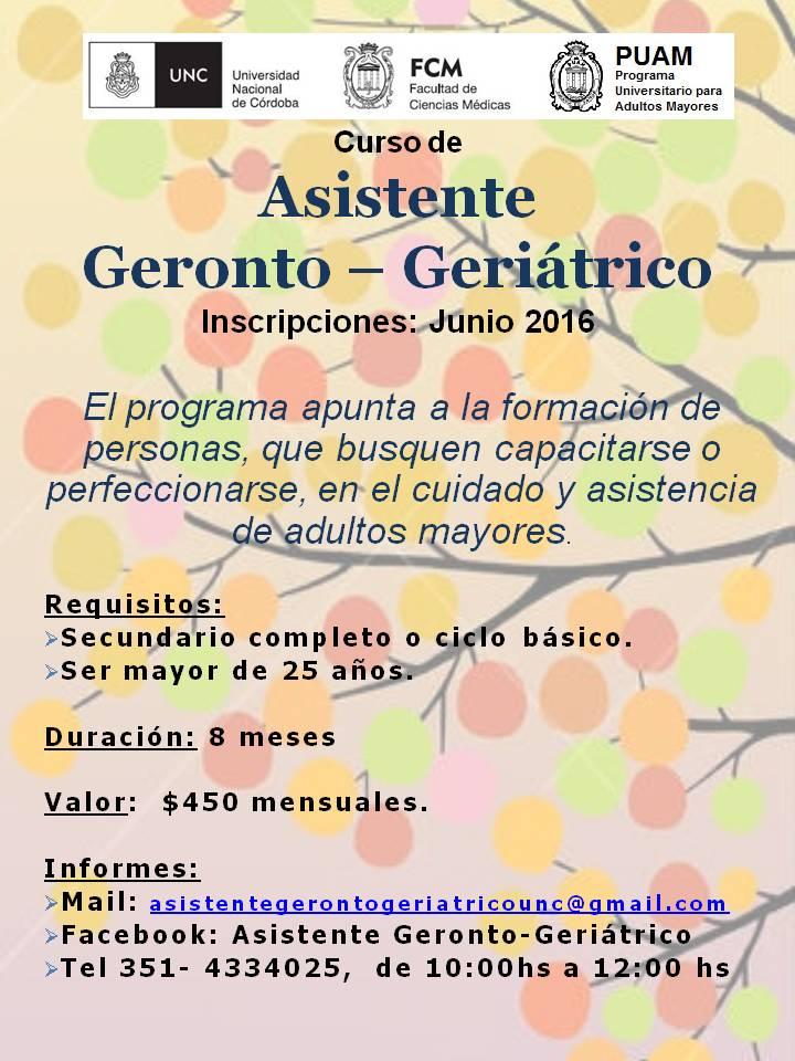 CURSO DE ASISTENTE GERONTO GERIATRICO